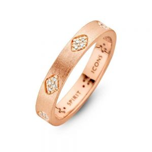 Spirit Icons - Shine ring i rosaforgyldt sølv med zirkonia. Ringen har en matteret overflade, udsmykket med små grupperinger af hvidezirkonia. 53414