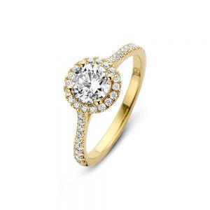 Spirit Icons - Romance ring i forgyldtsølv. Den klassiske ring er designet med enrundklar zirkonia, omkransetafsmå zirkonia.53502