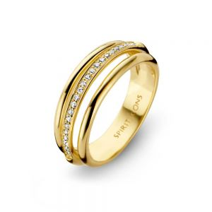 Spirit Icons - Arch ring i 14 karat guld. Den elegante ring er formet i tre cirkler, den midterste med en række af brillantslebne diamanter. 54146