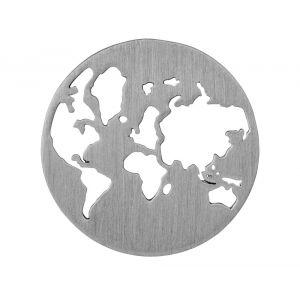 byBiehl Beautiful World sølv vedhæng med verdenskort, 7-1601-R
