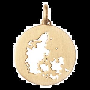 byBiehl Beautiful Denmark vedhæng i forgyldt sølv, 7-1610a-GP, danmarkskort
