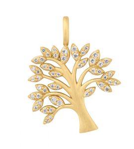 byBiehl Tree of Life Sparkle vedhæng i forgyldt sølv med zirkoner