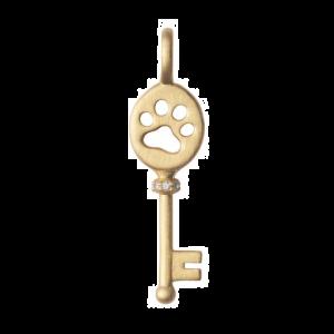 byBiehl Unlock Power nøgle vedhæng med poteaftryk, i forgyldt sølv med zirkonia, 7-2607a-GP