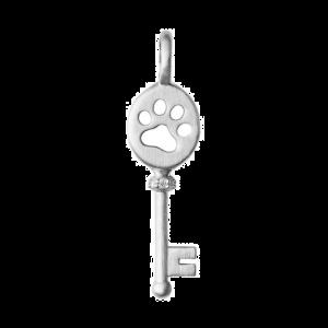 byBiehl Unlock Power nøgle vedhæng med poteaftryk, i rhodineret sølv med zirkonia, 7-2607a-R