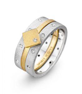 Spirit Icons - Campaign 4 sæt -3 samleringe med mat overflade og zikonia. Den midterste ring er i forgyldt sølv med en firkant. To ringe er i sølv. 80004