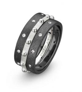 Spirit Icons - Campaign 5 sæt - 3 sammensatte ringe. Den midterste ring er i sølv med små blanke kugler. To ringe isort ruthineret sølv, med hvide zirkonia. 80005