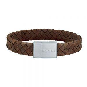 Nordahl Andersen SON - herre armbånd i brunt flettet læder, med lås i stål 12 mm