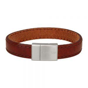Nordahl Andersen SON herre armbånd i brun læder med lås i børstet stål