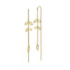 Izabel Camille - Dreamy øreringe i forgyldt sølv. De elegante øreringe er designet som lange kæder, med små fine blade. Mål: 8 x 79 mm. a1673gs