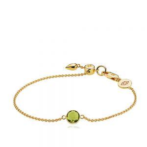 Izabel Camille - Prima Donna armbånd i forgyldt sølv, med et rundt fast vedhæng, medfacetslebetperidot grøn krystal glas. a3057gs-peridotgreen.