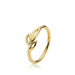 Izabel Camille - Dreamy ring i forgyldt sølv. Ringens top erdesignet med tre små blade. Mål: 7 mm. a4152gs.