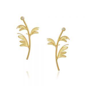 Dulong Aura Sway ørestikker i 18 karat guld, formet som plante med diamant som blomst, AUR1-A1250
