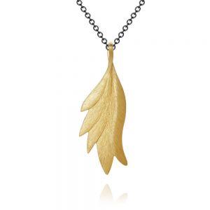 Dulong Aura sølv halskæde med vedhæng i 18 karat guld