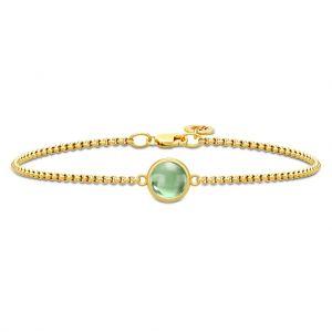 Primini armbånd i forgyldt sølv med rund grøn krystal fra Julie Sandlau. BR258GDGRATCR