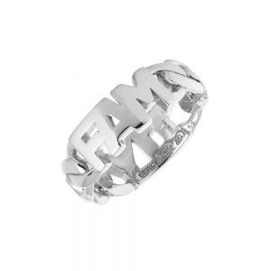"""Maria Black - Family ring isølv, fremstillet i et modernekæde design, med bogstaver: """"FAM"""". Ringen er et symbol på kærlighed og familie. 500400AG."""