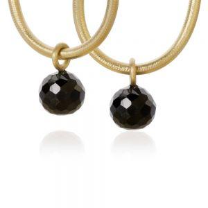Dulong Globe vedhæng til øreringe i 18 karat guld, hver med en rund facetteret sort spinel. GLO2-A1100