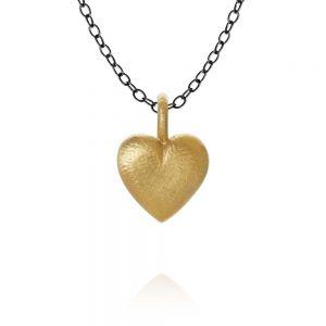 Dulong Heart sølv halskæde med hjerte vedhæng i 18 karat guld. HEA5-A1050