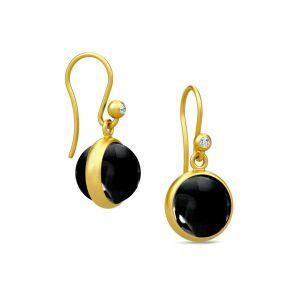 Julie Sandlau Prime øreringe i forgyldt sølv med rund sort krystal. HKS181GDBLXCZ