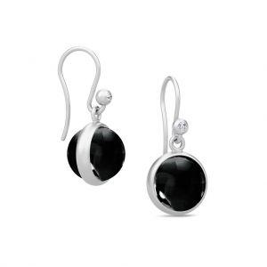 Julie Sandlau Prime sølv øreringe med runde sorte krystaller og zirkonia
