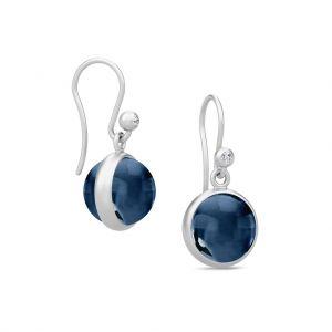 Julie Sandlau Prime øreringe i rhodineret sølv, med safir blå krystal og zirkonia. HKS181RHSACRCZ