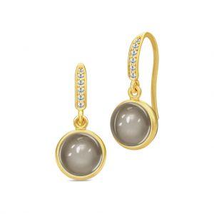 Julie Sandlau Luna øreringe i forgyldt sølv med grå månesten og zirkonia. HKS432GDGYMNCZ