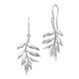 Julie Sandlau Tree Of Life øreringe i rhodineret sølv, designet som blade. HKS442RH
