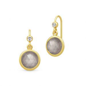 Julie Sandlau Moon øreringe i forgyldt sølv, med grå månesten og zirkonia. HKS505GDGYMNCZ