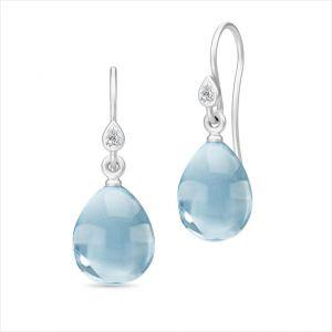 Julie Sandlau Prima Ballerina sølv øreringe, med blå krystaller