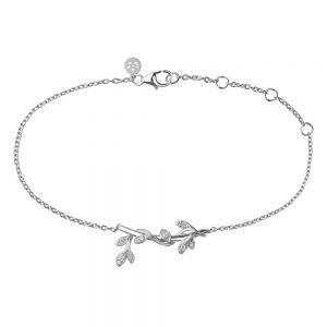 byBiehl Jungle Ivy Sparkle sølv armbånd med zirkonia. Lianer med små blade snor sig langs det fine vedhæng. 2-3102a-R