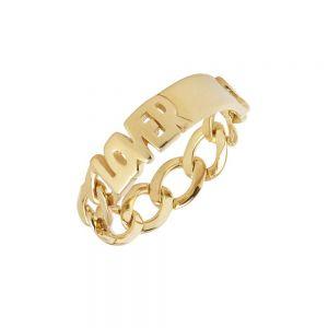 """Maria Black - Lovers ring i forgyldt sølv, med ordet """"LOVERS"""". Den er fremstillet i et moderne kæde design. 500402YG."""