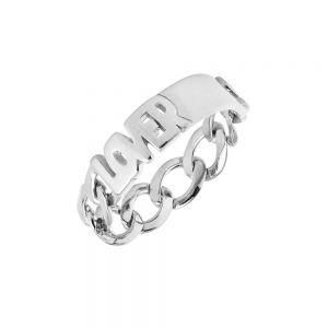 """Maria Black - Lovers ring i sølv, med ordet """"LOVERS"""". Den er fremstillet i et moderne kæde design. 500402AG."""