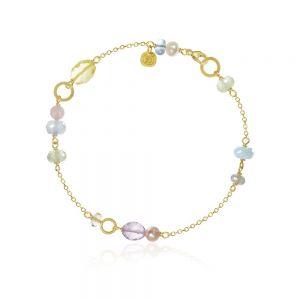 Dulong Piccolo Northern Light guld armbånd med et smukt mix af ægte sten. PIC4-A1131