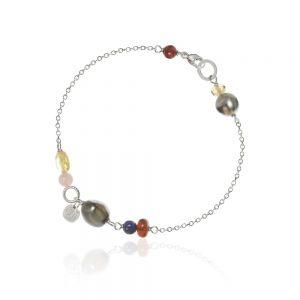 Dulong Piccolo sølv armbånd med farvede ædelsten