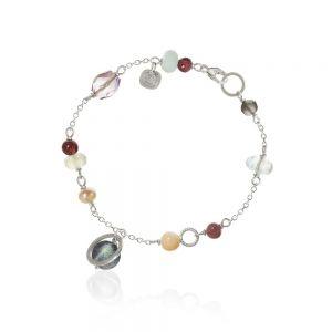 Dulong Piccolo armbånd i sølv med ædelsten og perle
