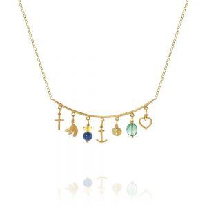 Dulong - Linea Piccolo Sea Breeze halskæde i 18kt guld. På det faste let buet vedhæng, er en række af små forskellige vedhæng, samtcitrin, kyanite og smaragd.