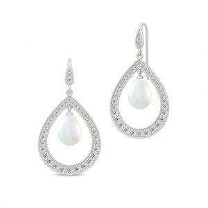 Julie Sandlau - Ocean Droplet øreringe i rhodineret sølv, med ferskvandsperle og kubiske zirkoner. SDM89RHWHPLCZ